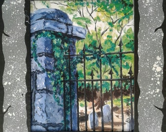 Decatur Cemetery Gate Print with Hand Painted Cardboard Mat LARGE VERSION