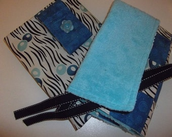 Infant Accessories - Infant Carrier Car Seat Cover and Blanket Set - Blue/Off-white Geometric