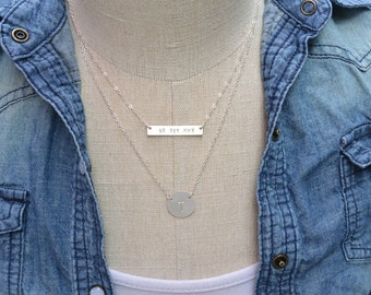 Sterling SILVER Nameplate Personalized Bar Initial Disc Necklace, Layered Name Plate Necklace, Family, Couples, Mothers Personalized Jewelry