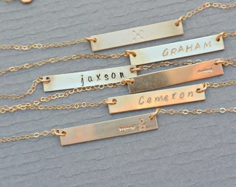 Personalized Bar Necklace , Nameplate Necklace , Bar Necklace, Nameplate Bar Necklace, New Mom Necklace, Couple's Necklace, Best Friend Gift