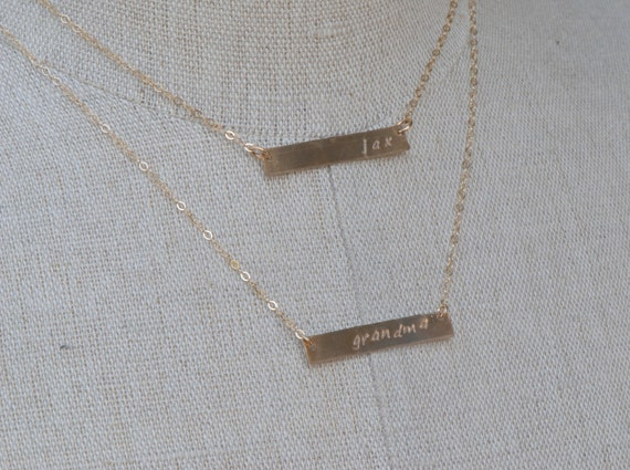 Personalized Double Strand Necklace, Two Gold Bar Layering Necklace, Personalized Bar Necklace, Family Mothers Gold Necklace, Couple Jewelry