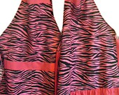 Mother and Daugther Matching set Pink Zebra aprons  Girls size 4-6-8