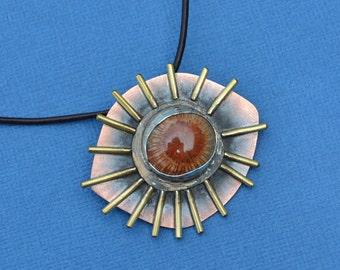 Copper, Bronze, Brass, Fine Silver, Fossilized Coral Pendant