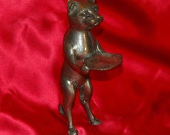 Vintage Metal Cat Servant Figurine