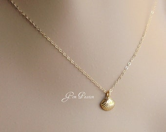 Gold Sea Shell Necklace, Gold Vermeil Sea Shell Charm, 14k Gold Filled Chain, Sea Charm Necklace, Beach Necklace