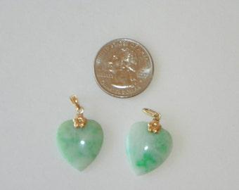 Jade Heart Pendant/Earrings Set of (2)