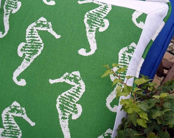 "Emerald Green Dancing Seahorse Pillow Cover Set -  Sand, Sunshine & Seahorses - 20"" square"