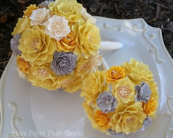 Paper Bouquet - Paper Flower Bouquet - Wedding Bouquet - Shades of Yellow and Ivory - Custom Made - Any Color