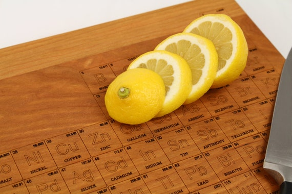 """Periodic Table of Elements Laser Engraved Cutting Board (Large) (formaldehyde free) - 20"""" x 12"""" and thick 1-1/4"""" - Hardwood, Paul Szewc"""