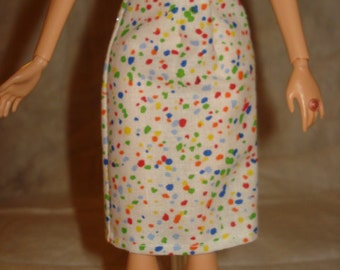 Fashion Doll Coordrinaes - White with colorful paint splater print a-line skirt - es270
