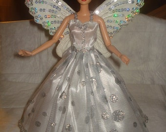 Silver sparkle dotted Angel dress with silver sequined wings for Fashion Dolls - ed504