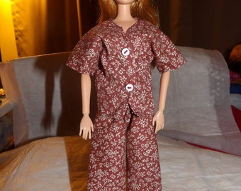 White floral & wine full cut pajamas for Fashion Dolls - ed575