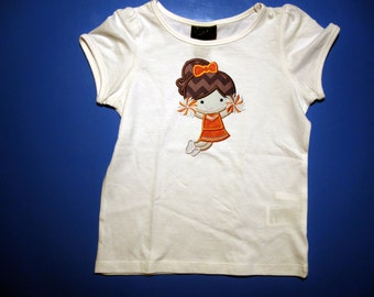 Baby one piece or  toddler tshirt - Embroidery and appliqued  girls cheerleader