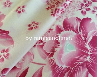 "silk fabric, silk twill pink flowers print fabric, fat quarter, 18"" by 22"""