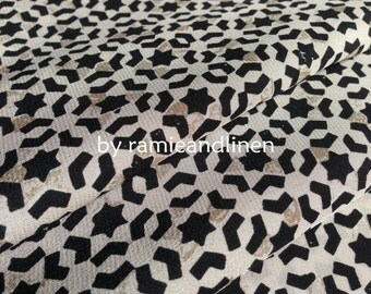 "Silk fabric, vintage stars print crepe de chine silk fabric, pure silk fabric, dress fabric, Fat Quarter, 18"" by 22"""