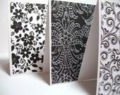 Black and White notecards, Flower stationary, Black and White Stationary cards, set of 6, Stocking Stuffer, Gift Under 10 dollars