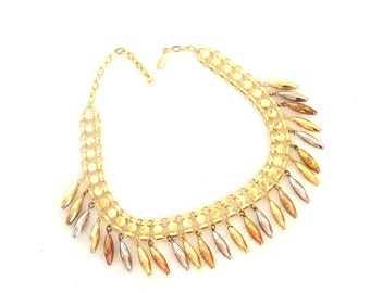 Vintage 1980s Fringe Necklace Tri Tone Silver Gold Copper