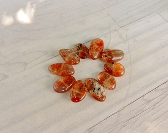 Sunstone, Side Drilled, Smooth Ovals, Sunstone Smooth Nuggets, 10 Beads, Avg 15mm by 9mm