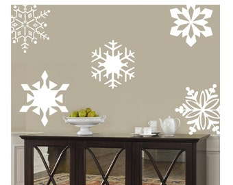 Snowflakes  10- 10 inch-holiday Vinyl Lettering wall words graphics Home decor itswritteninvinyl