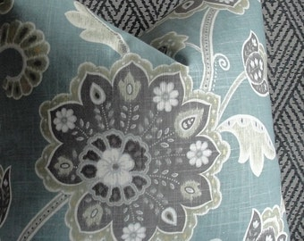 Floral Blue Gray Teal Designer throw pillow BOTH SIDES Decorative Pillow Cover jacobean pillow accent pillow jade  grey