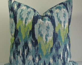 Decorative IKAT pillow cover-Designer Throw pillow-BOTH SIDES-barkcloth-navy blue-turquoise-teal-green-accent pillow-lumbar-square