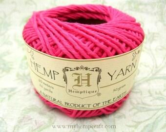 Cotton Hemp Yarn, Dark Pink, 66yd Natural DK Weight Hemp Cotton Blend Yarn
