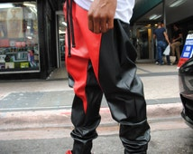Black and Red Leather Drop Crotch Harem Pants / Mens Joggers / Faux Leather Pants / Red Leather / Black Leather by GAG THREADS