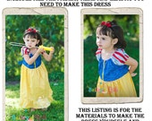 Snow White Dress DIY Kit, Includes all the fabric, trims, and pattern you need to make your own dress, Sizes 5-8