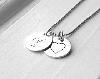Large Initial Heart Necklace, Sterling Silver Initial Necklace, Letter Y Necklace, Letter Y Pendant, Charm Necklace, Hand Stamped Necklace