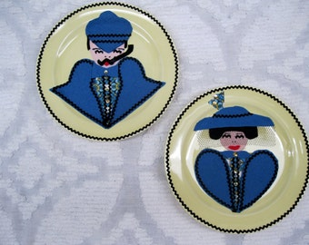 Victorian Felt Man and Woman collectible Plates