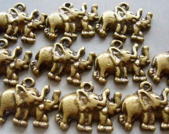 10Pieces Copper-Coated Alloy Metal Two Elephant Pendant Loose Beads Jewelry Finding---10Pcs--20mm x 15mm  ja148