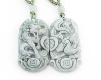 Pair Of Jadeite Jade Dragon Phoenix Love Amulet Talisman Pendant Necklace(Couple Style) 40mm x 24mm  T2820