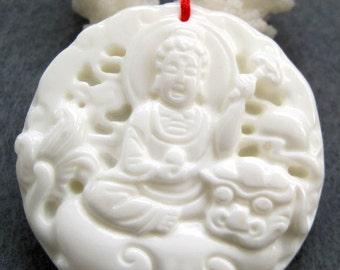 Tridacna Shell Tibetan Kwan-Yin Guanyin Deity Dragon Talisman Pendant Good Luck 46mm x 46mm  T2427