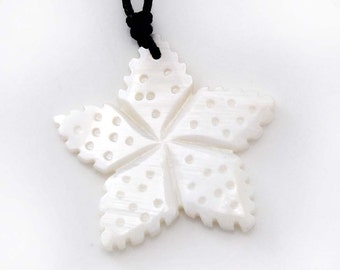 Single Face Dot Five-Point Star Style Luster Natural Sea Shell Pendant 39mm x 38mm  T2811