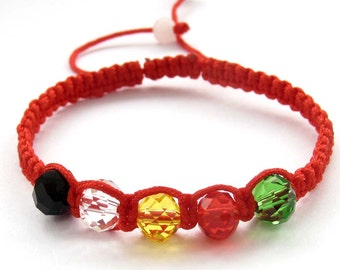 Red Silk Cord Macrame Faceted Five Colors Gem Stone Beads Bracelet  T3098