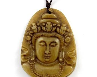 Blessing Kwan-Yin Buddha Head Amulet Pendant Natural Xiuyan Stone 48mm x 35mm  T3115