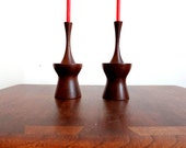 Mid Century Atomic Walnut Candlestick Pair