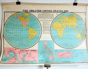 Two-Sided Colorful Antique Revolutionary War & US Map 1898 School Map