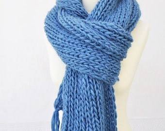 Chunky Petrol Blue Scarf With Tassels Pure Wool Soft Plush Women's Knitwear Gift for Her