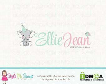 elephant logo design baby logo design newborn logo birth logo design premade logo design graphic design bespoke logo design party logo