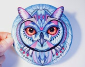 Snow owl bird sticker, // SALE 3 for 2 // 100% waterproof vinyl label.