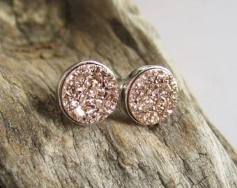 Rose Gold Druzy Earrings Titanium Drusy Quartz Studs Sterling Silver Bezel Set