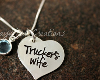 Trucker's Wife Sterling Silver Hand Stamped Necklace