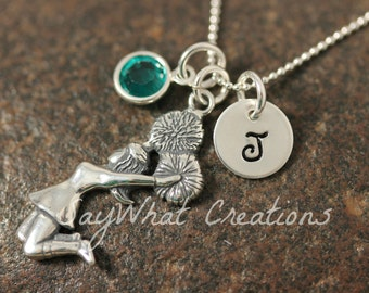 Hand Stamped Sterling Silver Mini Initial Cheerleader Charm Necklace for Gymnastics