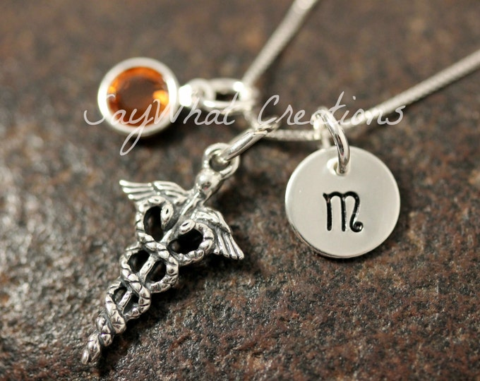 Sterling Silver Mini Initial Hand Stamped Medical Charm Caduceus Necklace