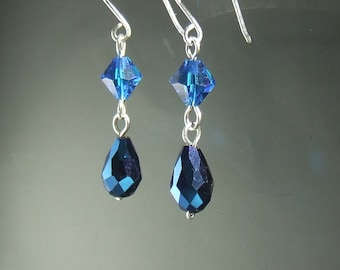 Blue silver earrings, Swarovski earrings, sterling silver handmade jewelry