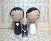 Custom Mini Kokeshi Wedding Cake Toppers Plus ONE Pet