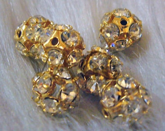 8mm Gold with Clear White Czech rhinestone Fire ball beads 10pcs Spacers Rhinestone Spacer Beads Fireball Prong set Craft Findings