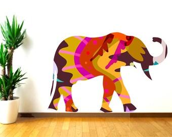 Elephant Wall Decal, Large Elephant decal, Colorful elephant, Kids bedroom decor, Animal wall art, Safari animal decal, playroom wall decal
