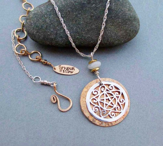 Sterling Silver Pentacle Necklace Moonstone Pendant Wiccan Jewelry Brass Jewelry